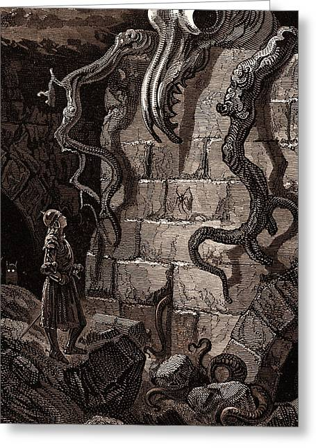 The Gnarled Monster, By Gustave DorÉ, A Scene Greeting Card by Litz Collection