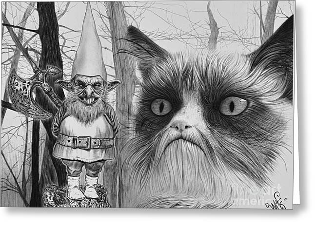The Gnome And The Cat Greeting Card