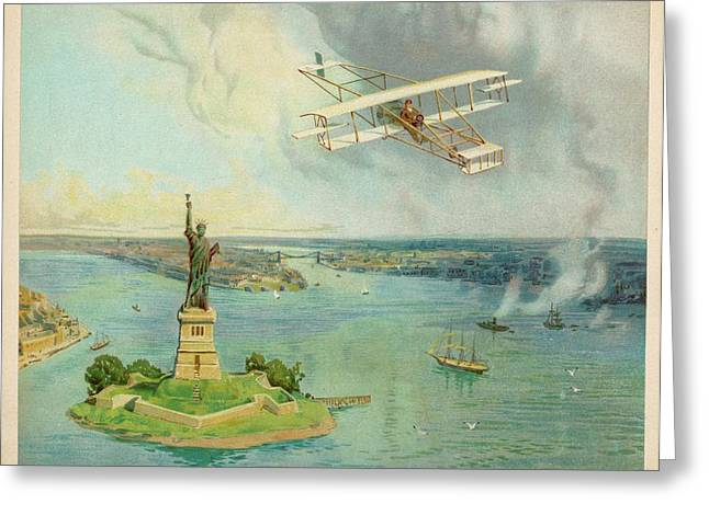 The 'gold Bug' Biplane  Designed Greeting Card by Mary Evans Picture Library