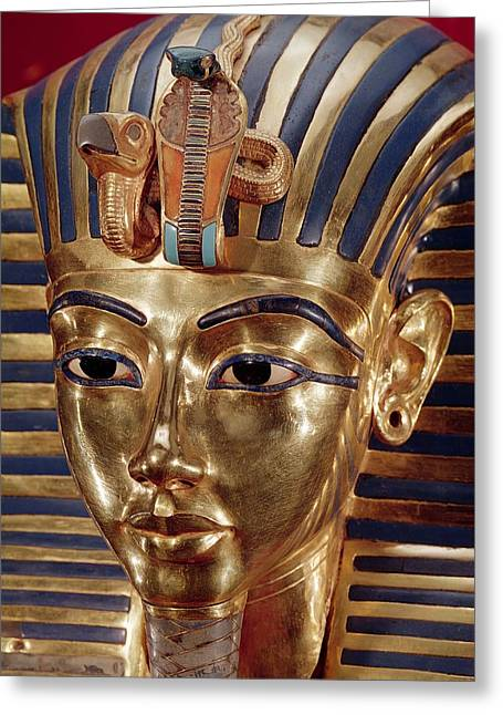 The Gold Mask, From The Treasure Of Tutankhamun C.1370-52 Bc C.1340 Bc Gold Inlaid Greeting Card by Egyptian 18th Dynasty