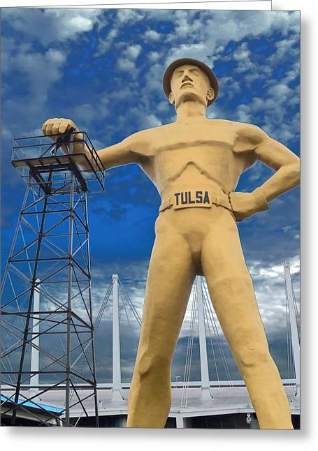 The Golden Driller - Tulsa Oklahoma Greeting Card by Deena Stoddard