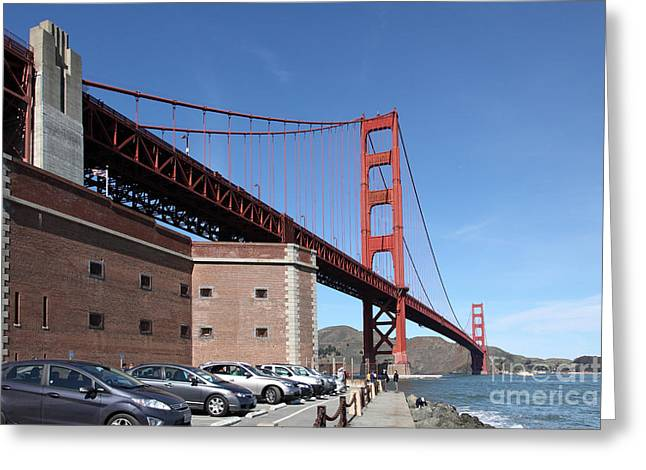 The Golden Gate Bridge At Fort Point - 5d21465 Greeting Card by Wingsdomain Art and Photography