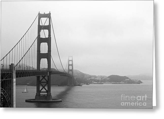 The Golden Gate Bridge In Classic B W Greeting Card by Connie Fox