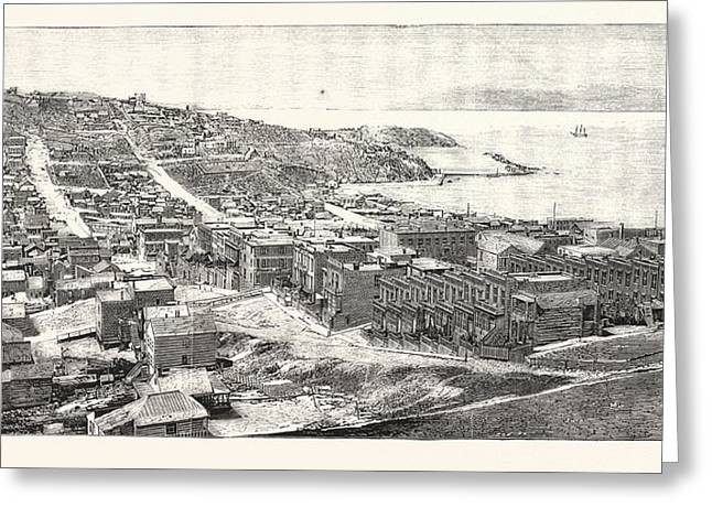 The Golden Gate San Francisco Engraving 1876 Greeting Card by English School