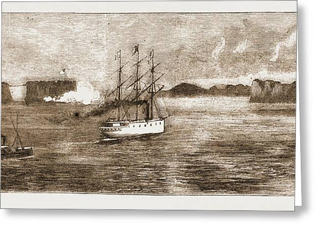 The Golden Gate, San Francisco H.m.s. Comus Leaving Greeting Card by Litz Collection