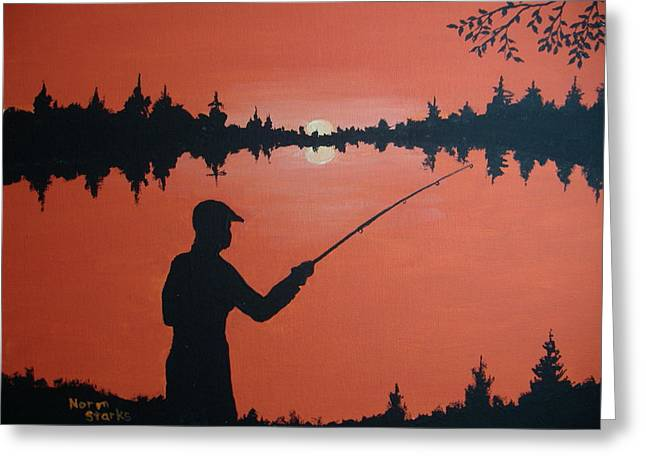 Greeting Card featuring the painting The Golden Hour by Norm Starks