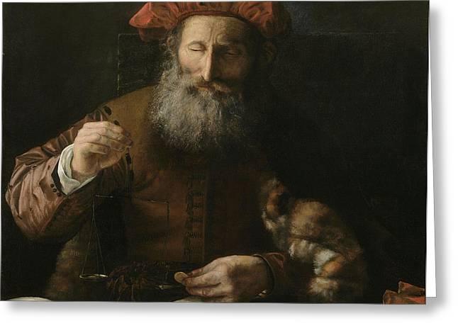 The Goldweigher Greeting Card by Karel van der Pluym