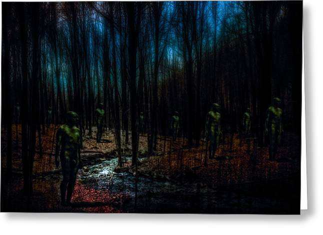The Golems Of Darkwoods Forest Greeting Card by Chris Lord