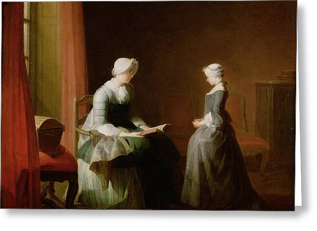 The Good Education, 1753 Oil On Canvas Greeting Card