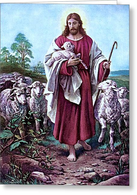 The Good Shepherd 1878 Bernhard Plockhorst Greeting Card by Movie Poster Prints
