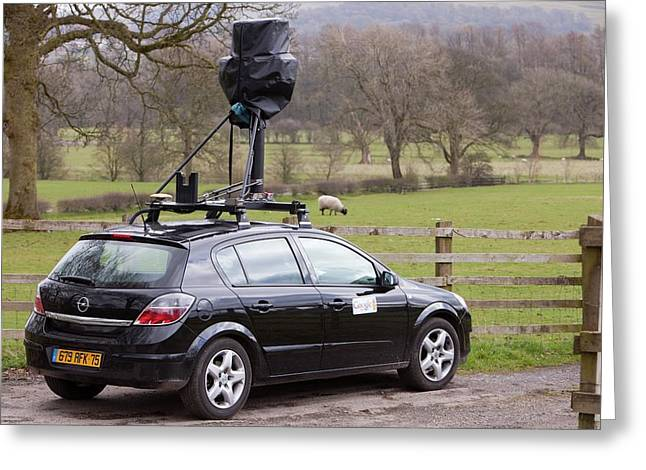 The Google Street Map Car Greeting Card by Ashley Cooper