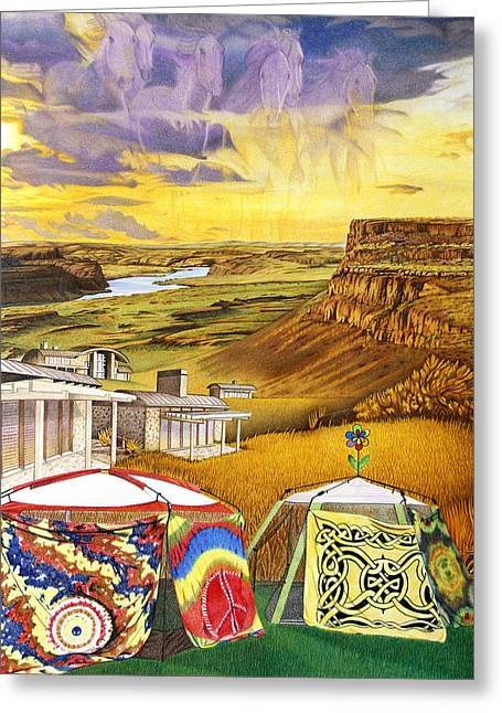 Camping At The Gorge Greeting Card
