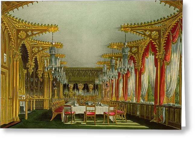 The Gothic Dining Room At Carlton House Greeting Card by Charles Wild