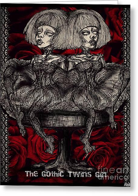 The Gothic Twin Girls Greeting Card by Akiko Okabe