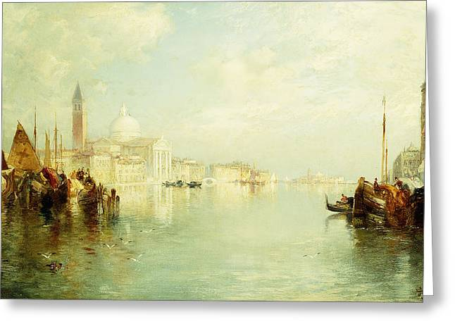 The Grand Canal Greeting Card by Thomas Moran