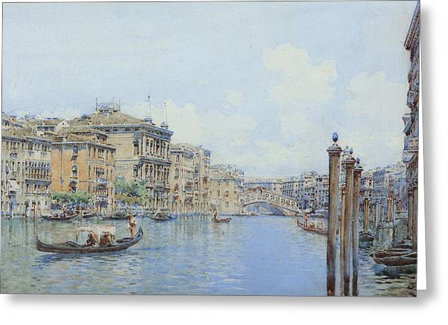 The Grand Canal With A View Of Palace Greeting Card
