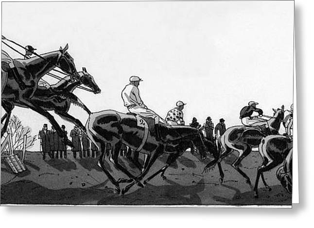 The Grand National At Aintree Greeting Card by Jean Pag?s