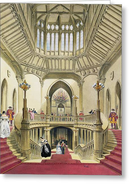 The Grand Staircase, Windsor Castle Greeting Card by English School