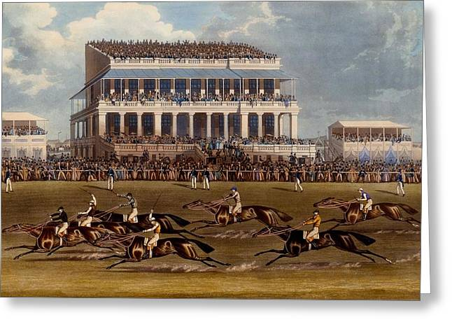 The Grand Stand At Epsom Races, Print Greeting Card