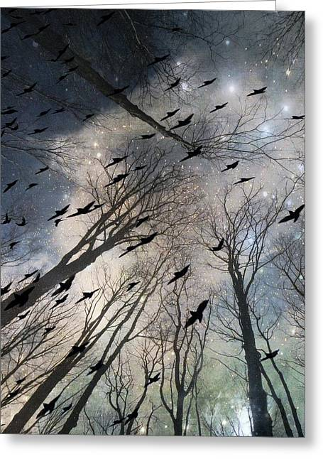 The Grandiose Flight Of The Wayward Ravens Greeting Card by Gothicrow Images