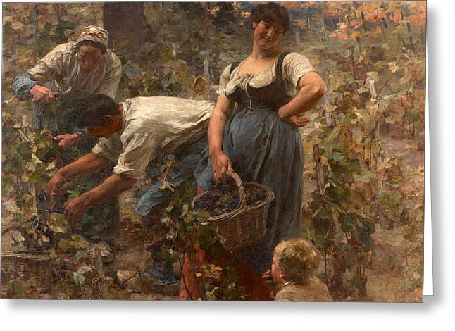 The Grape Harvest Greeting Card by Leon-Augustin Lhermitte