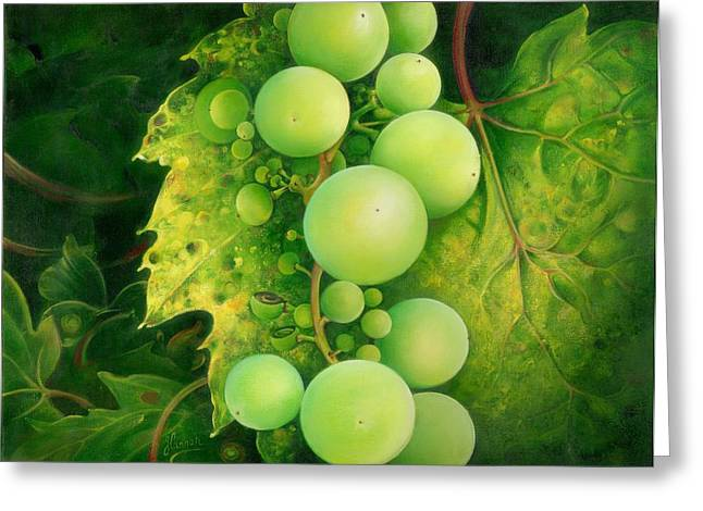 Greeting Card featuring the painting The Grapes by Anna Ewa Miarczynska