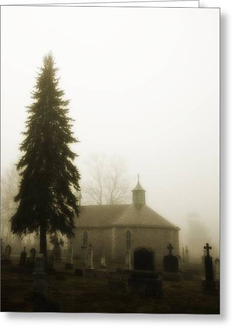 The Graveyard In The Fog  Greeting Card by Gothicrow Images