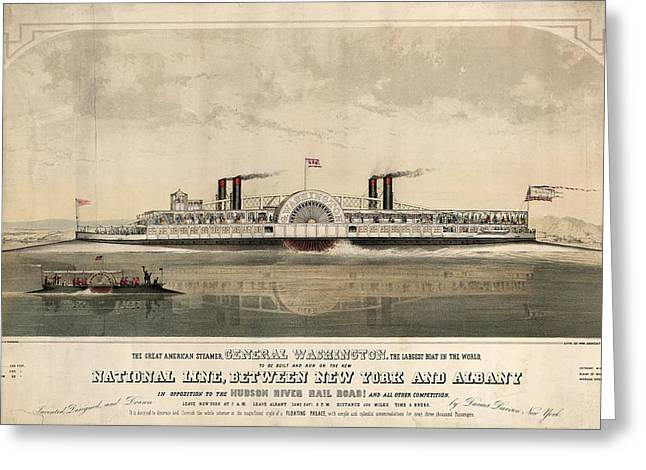 The Great American Steamer, General Washington Greeting Card