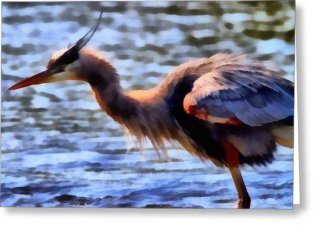 The Great Blue Heron Greeting Card by Dan Sproul