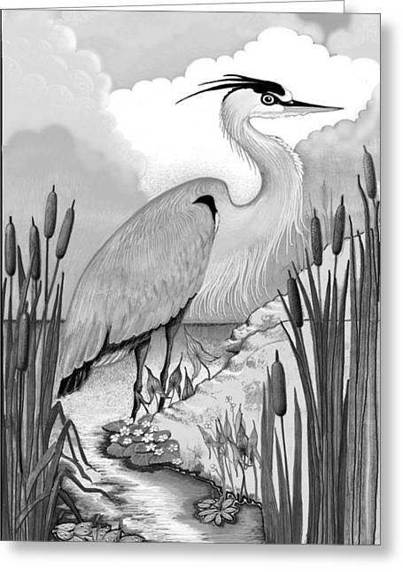 Greeting Card featuring the digital art The Great Blue In Grey by Carol Jacobs