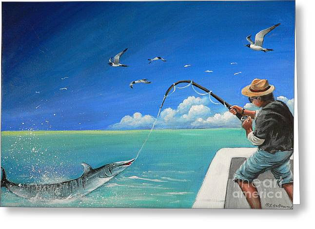 Greeting Card featuring the painting The Great Catch 1 by S G