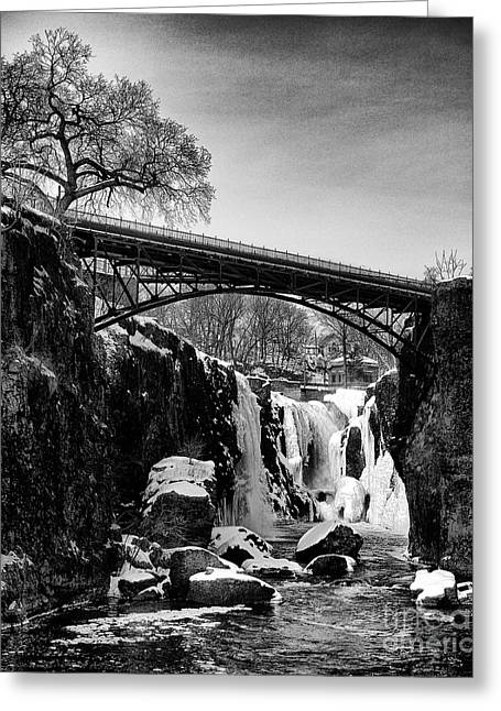 The Great Falls Of Paterson In Black And White Greeting Card