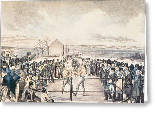 The Great Fight Between Tom Hyer And Yankee Sullivan Greeting Card by James S Baillie