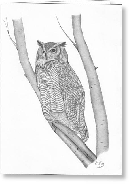 The Great Horned Owl Watches Greeting Card