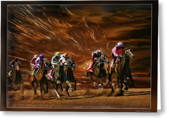 The Great Horse Race Greeting Card by Blake Richards