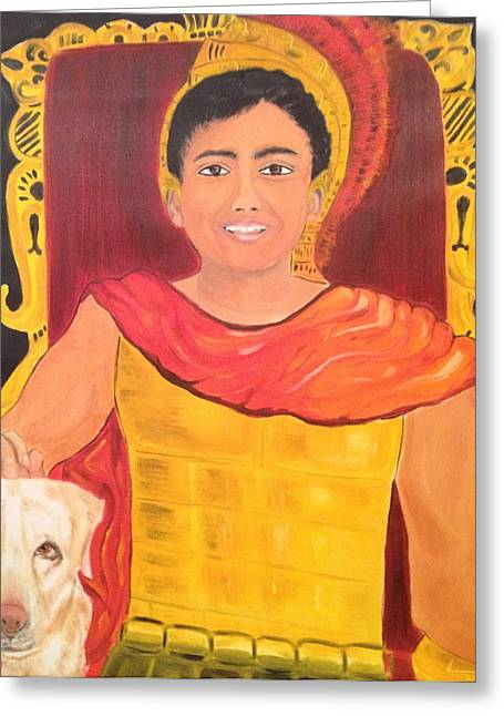 Greeting Card featuring the painting The Great King by Brindha Naveen