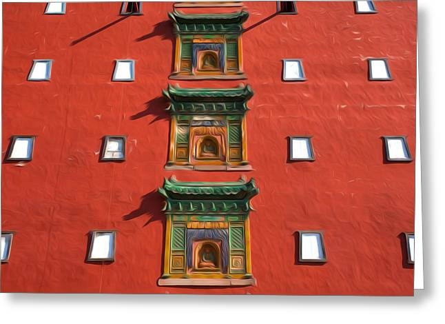 The Great Red Terrace Of Putuo Zongcheng Temple Greeting Card by Lanjee Chee
