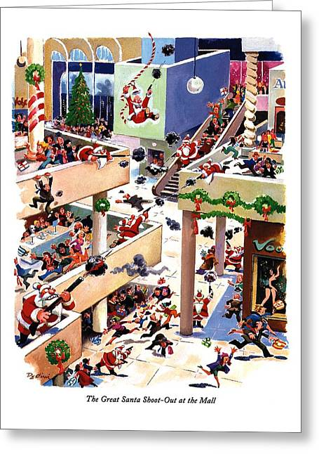 The Great Santa Shoot-out At The Mall Greeting Card by Eldon Dedini