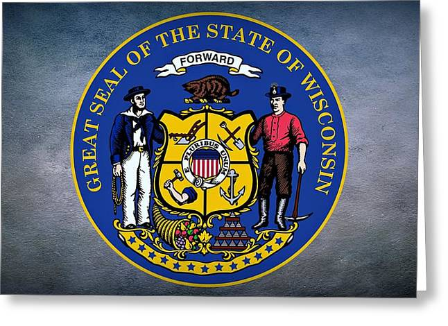 The Great Seal Of The State Of Wisconsin Greeting Card by Movie Poster Prints