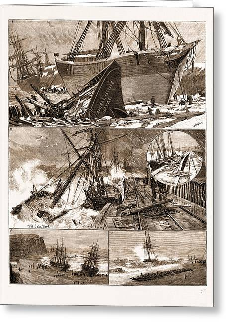 The Great Snowstorm And Gale, Wrecks On The Coast Greeting Card by Litz Collection