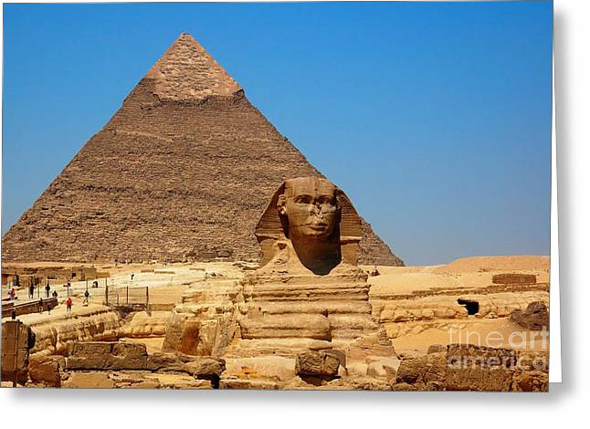 Greeting Card featuring the photograph The Great Sphinx Of Giza And Pyramid Of Khafre by Joe  Ng