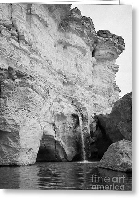the Great Waterfall in the canyon at tamerza oasis in the Atlas mountains tunisia Greeting Card