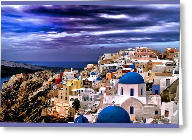 The Greek Isles Santorini Greeting Card by Tom Prendergast