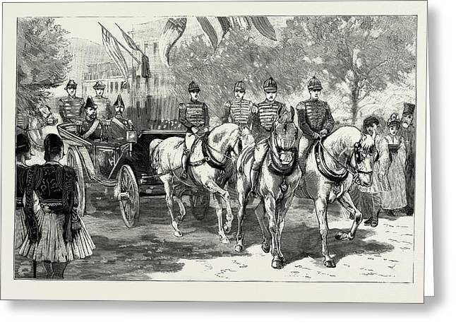 The Greek Royal Wedding, Arrival Of The Royal Party Greeting Card by Litz Collection