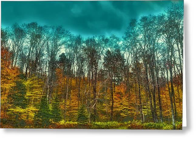 The Green Bridge Road In Autumn Greeting Card