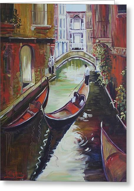 The Green Canal Greeting Card by Kathy  Karas