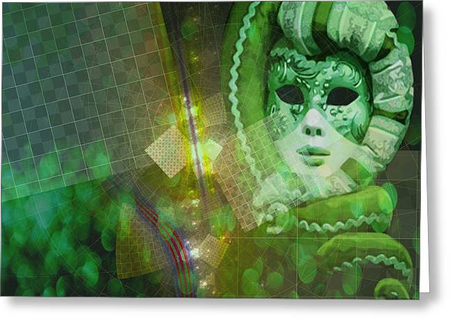 Greeting Card featuring the digital art The Green Lady by Melissa Messick