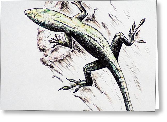 The Green Lizard Greeting Card by Katharina Filus