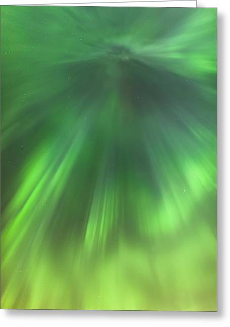 The Green Northern Lights Corona Greeting Card