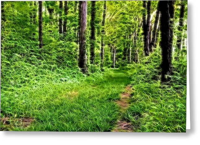 The Green Path Greeting Card by Dan Sproul